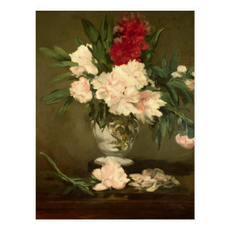 Vase of Peonies on a Small Pedestal, 1864 Postcard