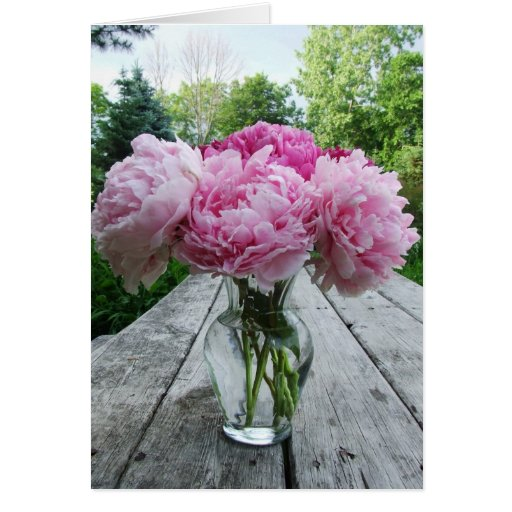 Vase of Pink Peonies Card