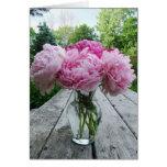 Vase of Pink Peonies Greeting Card