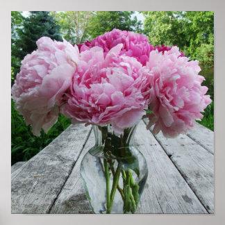 Vase of Pink Peonies Poster Print