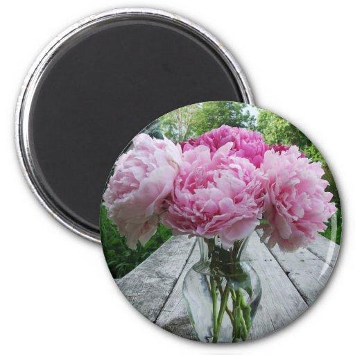 Vase of Pink Peonies Refrigerator Magnet