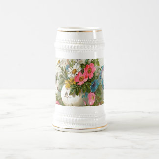 Vase of Pink, White and Blue Flowers Beer Stein