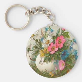 Vase of Pink, White and Blue Flowers Keychain