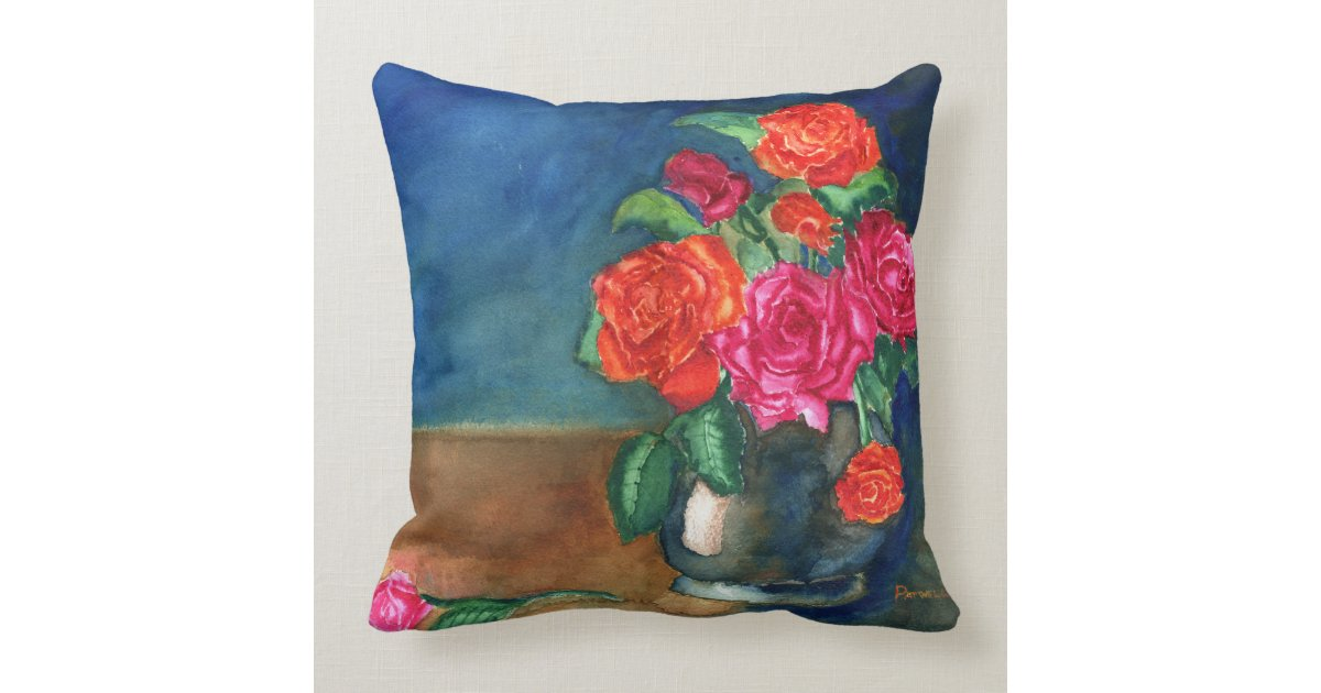 Red Rose Decorative Pillow : Vase of Red Roses Throw Pillow Zazzle