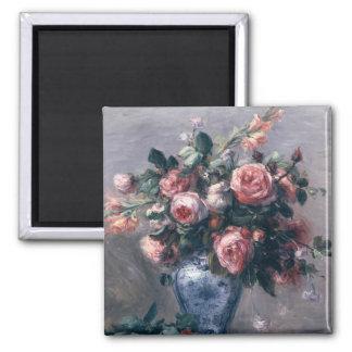 Vase of Roses 2 Inch Square Magnet
