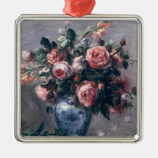 Vase of Roses Metal Ornament