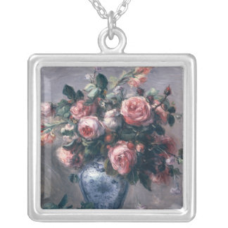 Vase of Roses Square Pendant Necklace