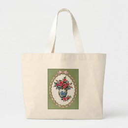 Vase of Roses with A Ribbon Frame Large Tote Bag