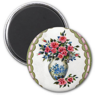 Vase of Roses with A Ribbon Frame Magnet