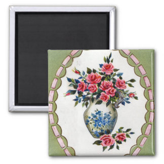 Vase of Roses with A Ribbon Frame Refrigerator Magnet