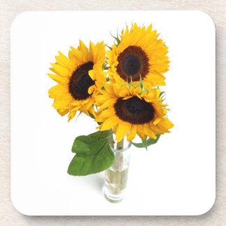 Vase of Sunflowers Photo Cork Coaster