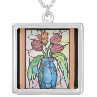 "Vase Of Tulips ""mini stained glass window""! Square Pendant Necklace"