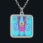 """&quot;VASE OF WISDOM&quot; ART DECO NECKLACE<br><div class=""""desc"""">SMALL SILVER PLATED NECKLACE WITH AN ORIGINAL ART DECO DESIGN IN BRILLIANT COLORS OF AQUA,  PURPLE,  ORANGE,  LIME GREEN AND HOT PINK.  A WOW FACTOR!</div>"""