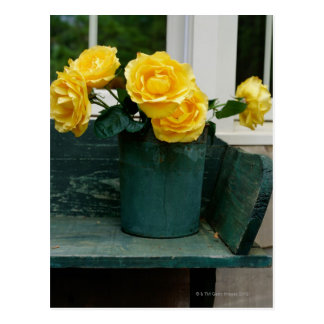 Vase of Yellow Roses on a Bench Postcard