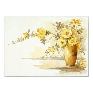 Vase of Yellow Roses Still Life Card