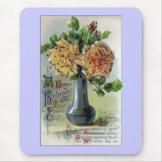 Vase of Yellow Roses Vintage Birthday Mouse Pad