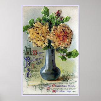 Vase of Yellow Roses Vintage Birthday Print