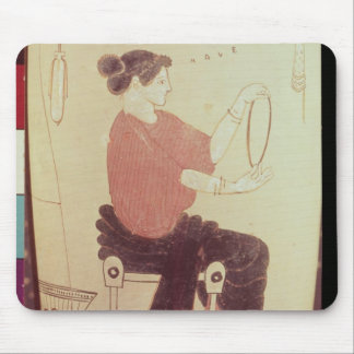 Vase or Lekythos, detail of a seated woman Mouse Pad