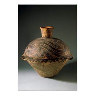 Vase painted with a spiral pattern, from Gansu Poster