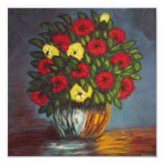 Vase Red Yellow Flowers Canvas Poster