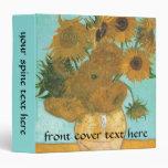 Vase with 12 Sunflowers by Van Gogh Vintage Flower Vinyl Binders