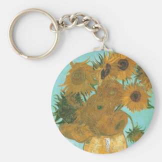 Vase with 12 Sunflowers by Van Gogh Vintage Flower Key Chain
