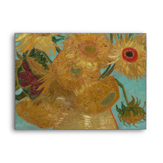 Vase with 12 Sunflowers by Vincent Van Gogh Envelope