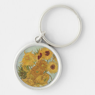 Vase with 12 Sunflowers by Vincent Van Gogh Silver-Colored Round Keychain