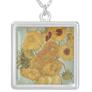 Vase with 12 Sunflowers - Vincent Van Gogh (1888) Silver Plated Necklace