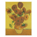 Vase with 15 Sunflowers by Van Gogh, Vintage Art Poster