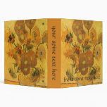 Vase with 15 Sunflowers by Van Gogh Vintage Flower 3 Ring Binders