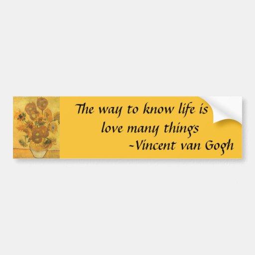Vase with 15 Sunflowers by Van Gogh Vintage Flower Bumper Sticker