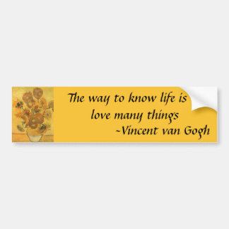 Vase with 15 Sunflowers by Van Gogh Vintage Flower Car Bumper Sticker