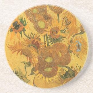 Vase with 15 Sunflowers by Van Gogh Vintage Flower Beverage Coasters