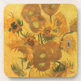 Vase with 15 Sunflowers by Van Gogh Vintage Flower Coaster