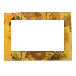 Vase with 15 Sunflowers by Van Gogh Vintage Flower Magnetic Picture Frame