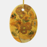 Vase with 15 Sunflowers by Van Gogh Vintage Flower Double-Sided Oval Ceramic Christmas Ornament