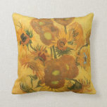 Vase with 15 Sunflowers by Van Gogh Vintage Flower Throw Pillows