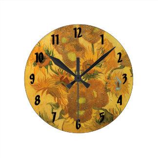 Vase with 15 Sunflowers by Van Gogh Vintage Flower Round Wall Clocks