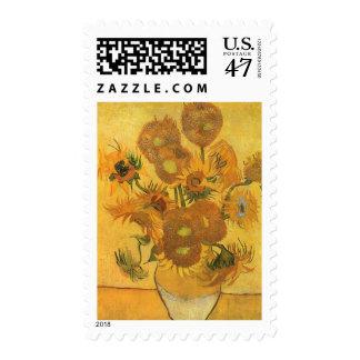 Vase with 15 Sunflowers by Van Gogh Vintage Flower Stamp