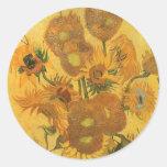 Vase with 15 Sunflowers by Van Gogh Vintage Flower Round Sticker