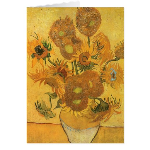 Vase with 15 Sunflowers by Vincent van Gogh Greeting Cards
