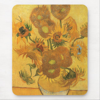 Vase with 15 Sunflowers by Vincent van Gogh Mouse Pad