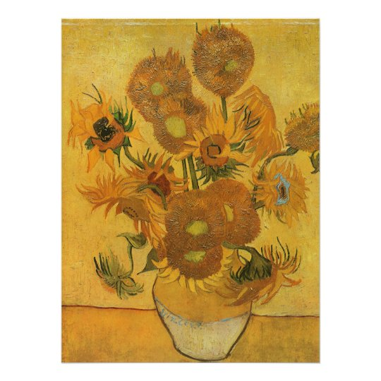 Vase with 15 Sunflowers by Vincent van Gogh Poster