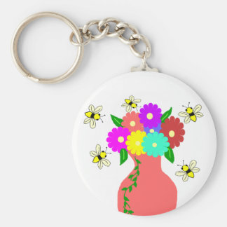 Vase with bees key chain