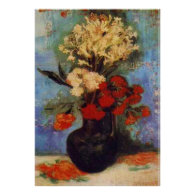 vase with carnations and other flowers van Gogh Print
