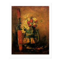 Vase with Carnations and Roses and a Bottle Post Card