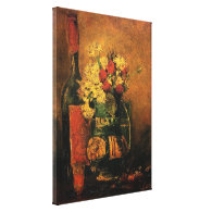 Vase with Carnations and Roses and a Bottle, Vince Canvas Prints