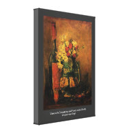 Vase with Carnations and Roses and a Bottle Vincen Gallery Wrap Canvas