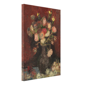 Vase with Chinese Asters and Gladioli by Van Gogh Canvas Print